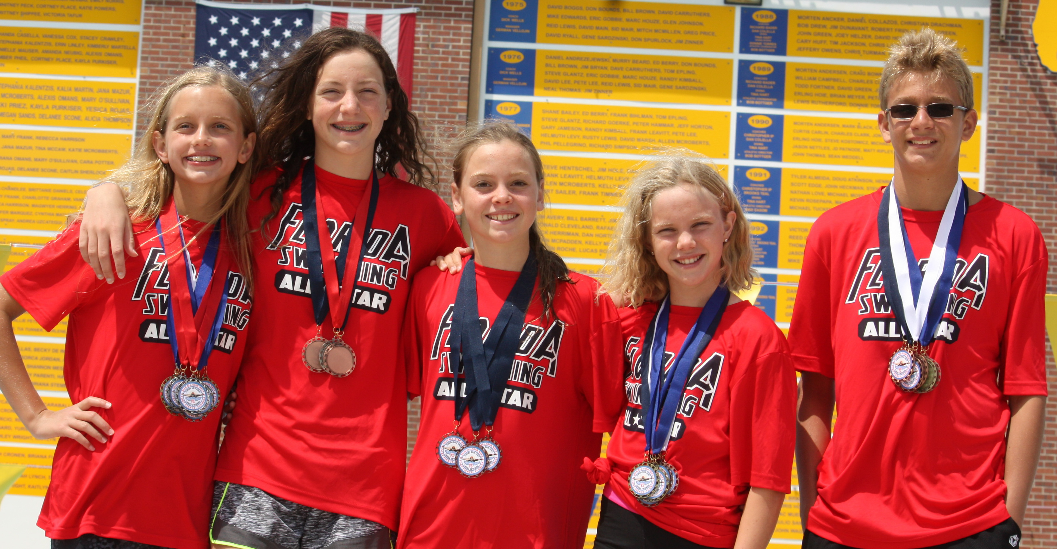 Sara Stotler, Emma Chestang, Brooke Arnold, Anna Moore and David Gapinski with their medals