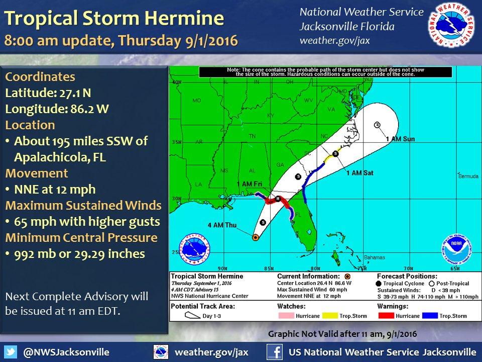 The National Weather Service projection for Tropical Storm Hermine.