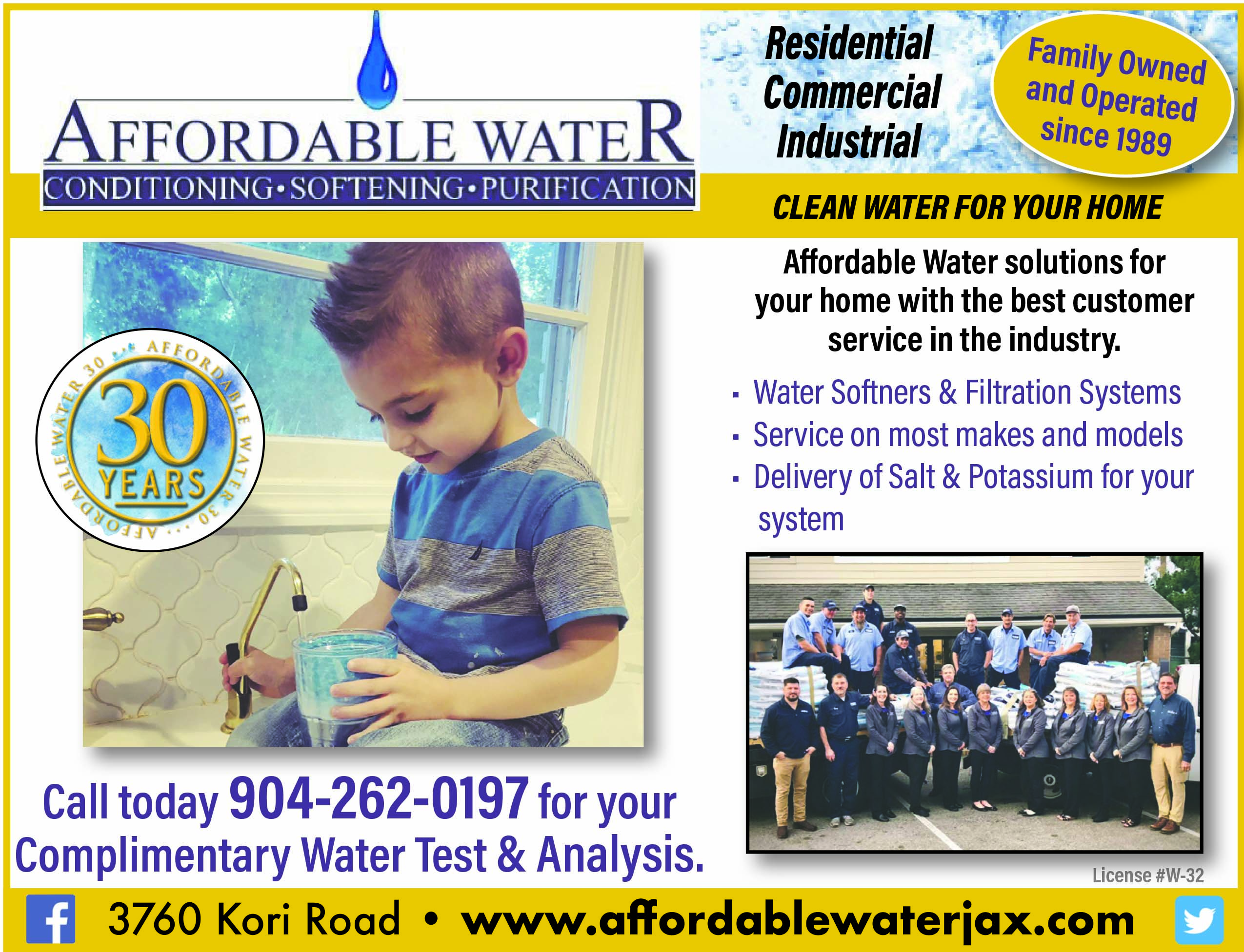 Affordable Water - Conditioning, softening, purification! Residential commercial industrial. Family owned and operated since 1989. Call today for your complimentary water test and analysis 904 262 0197
