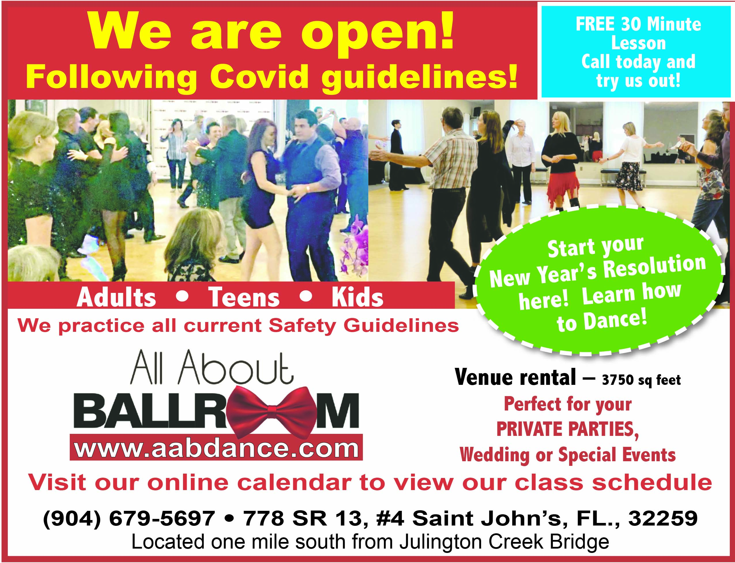 All About Ballroom Start your New Year's Resolution here! Learn how to Dance! Free 30 minute lesson call today and try us out! We are open following covid guidelinges! Venue rental 3750 sq ft perfect for your private parties, wedding or special events! 904 679 5697 www.aabdance.com