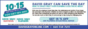 David Gray Electrical! Get 15% off any plumbing or electrical service. David Gray can save the day