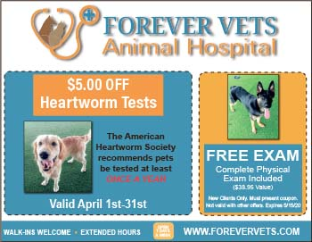 Forever Vets Animal Hospital coupon for free exam and $5 off heartworm tests