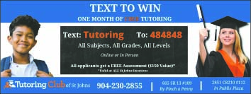 Tutoring club of st johns. Text tutoring to 484848 for a chance to win one month of free tutoring