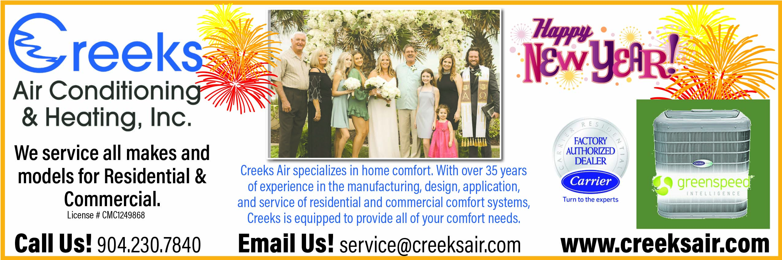 Creeks Air Conditioning & Heating. We service all makes and models for residential and commercial! Creeks air specializes in home comfort with over 35 years of experience in the manufacturing, design, application, and service of residential and commercial comfort systems, creeks is equipped to provide all of your comfort needs. Call US 904 230 7840 Email us! service@creeksair.com www.creeksair.com