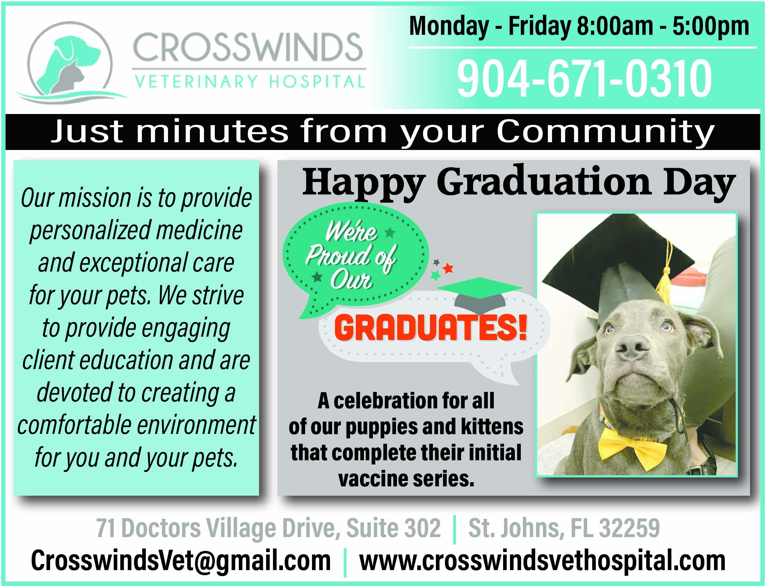Crosswinds Veterinary Hospital. Preventative Medicine and wellness, Surgery, Dentistry, Labs and Imaging, Farm Animal Medicine, In-Patient and Emergency Care. Our mission is to provide personalized medicine and exceptional care for your pets. We strive to provide engaging client education and are devoted to creating a comfortable environment for you and your pets. Call us 904 671 0310, Crosswindsvet@gm,ail.com www.crosswindsvethostpital.com