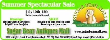 Sugar Bear Antique Mall Summer spectacular sale July 10th-12th