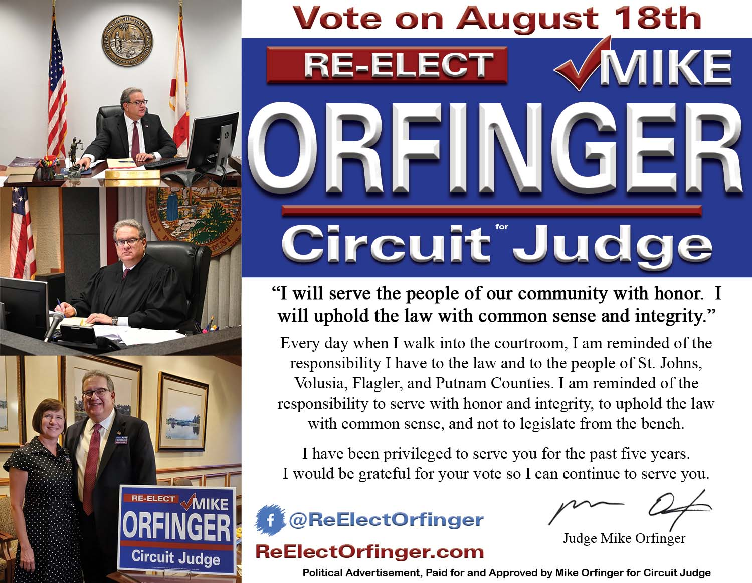 Re-elect Mike Orfinger for circuit judge