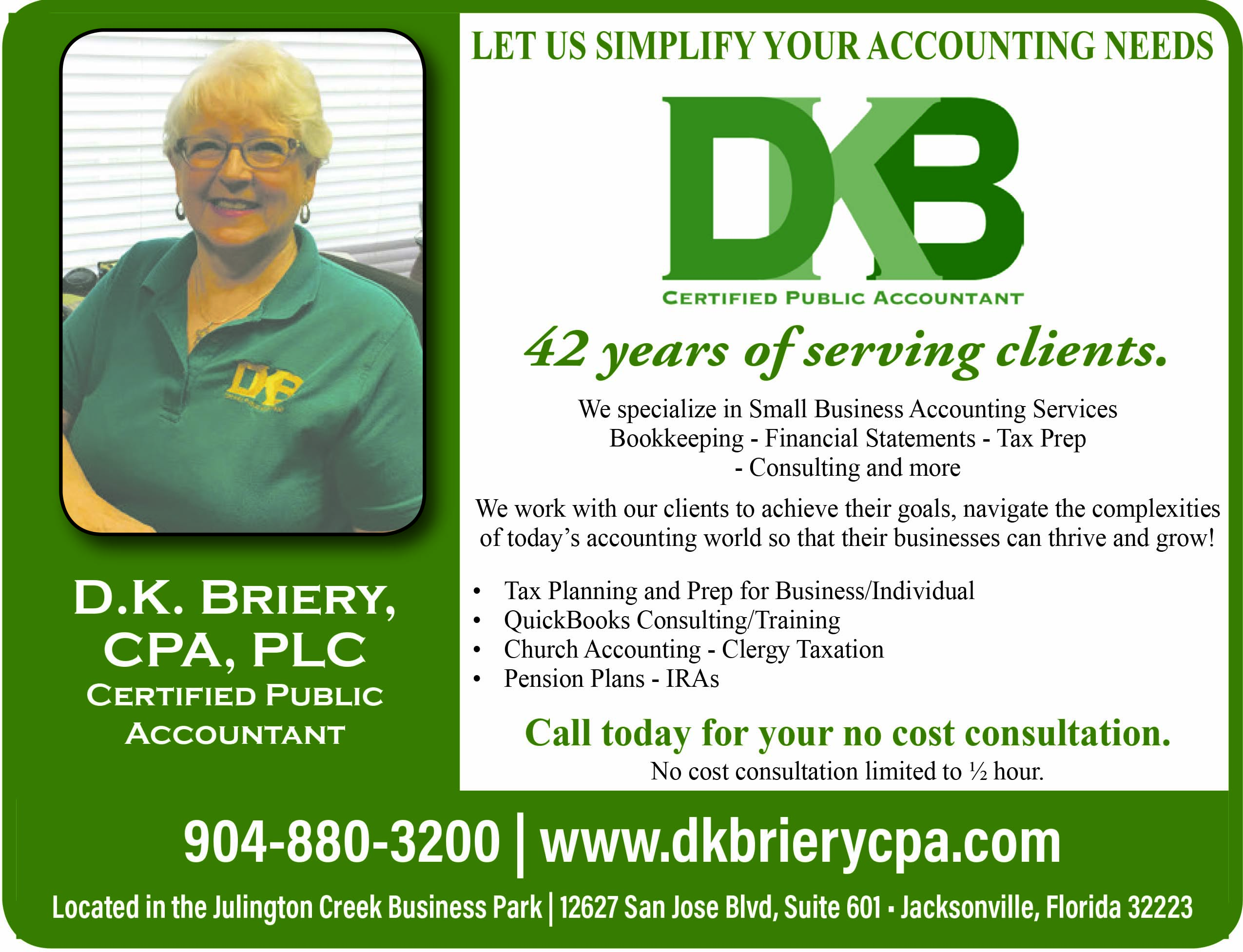 DKB Certified public accountant. Let us simplify your accounting needs 42 years of serving clients
