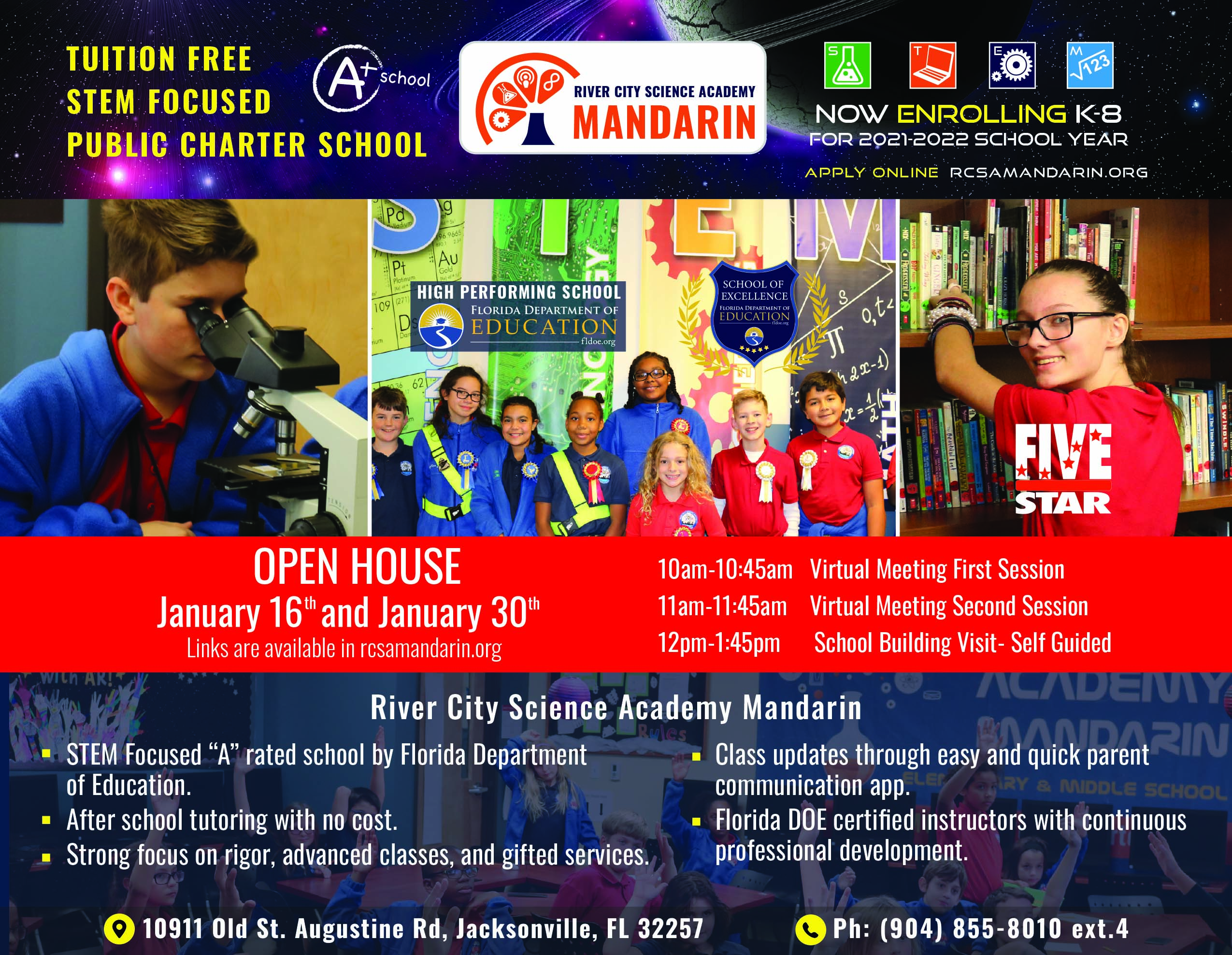 River City Science Academy Mandarin! Tuition free, stem focused, public charter shcool