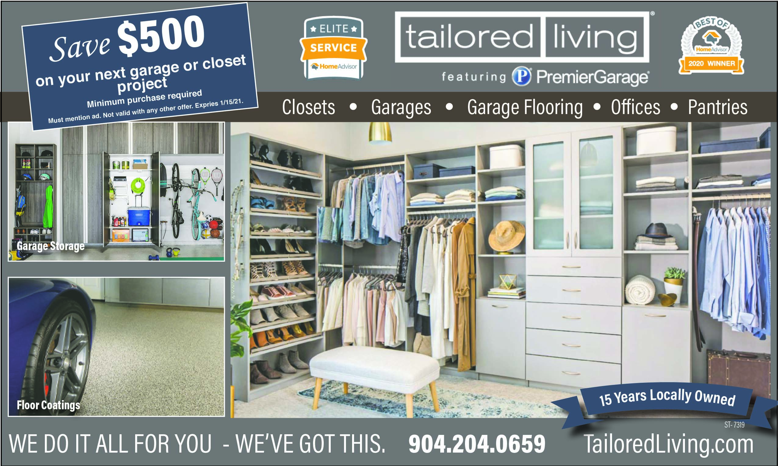Tailored living We do it all for you we've got this! Closets, Garages, garage flooring, offices, pantries