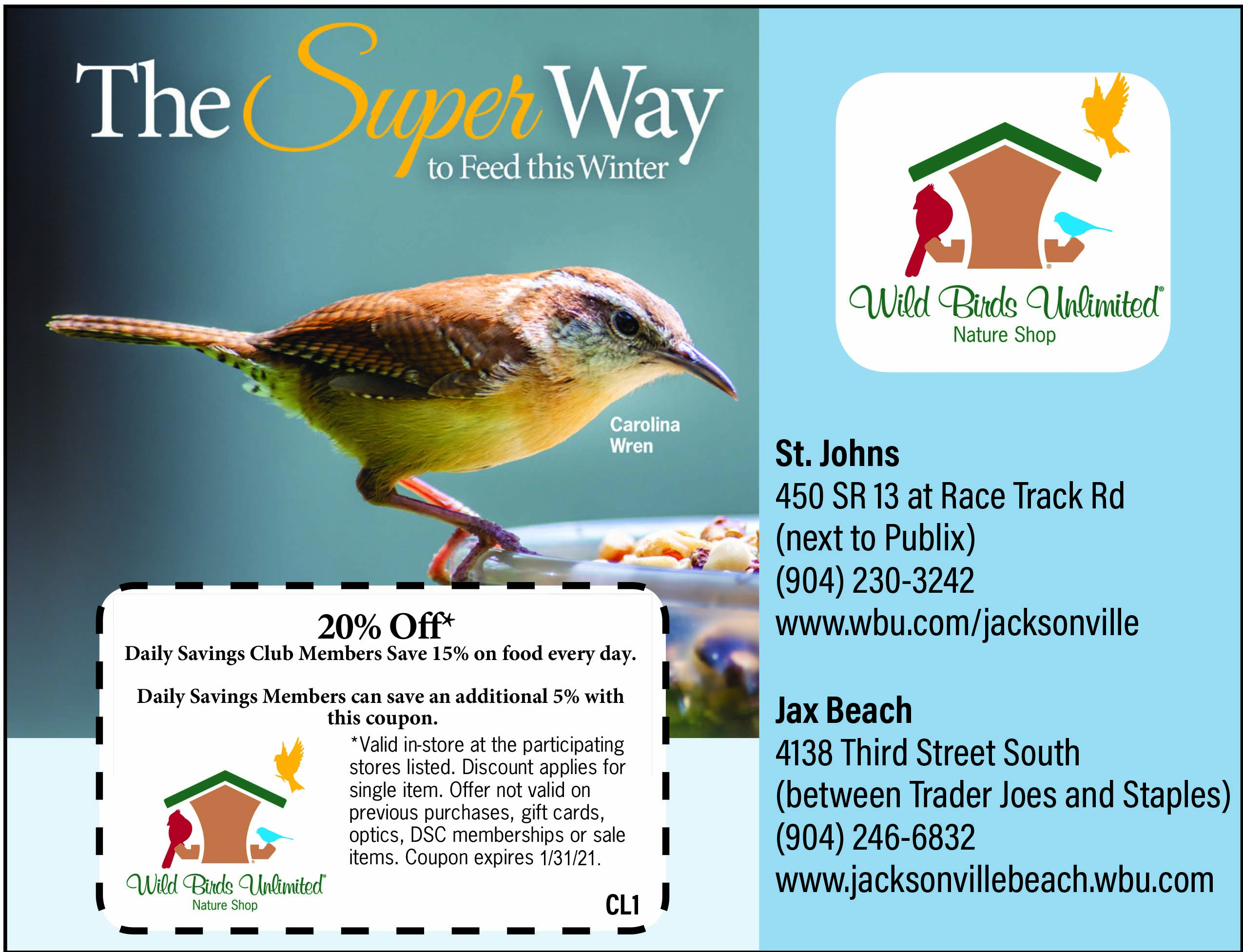Wild Birds Unlimited Nature shop. the super wat to feed this winter