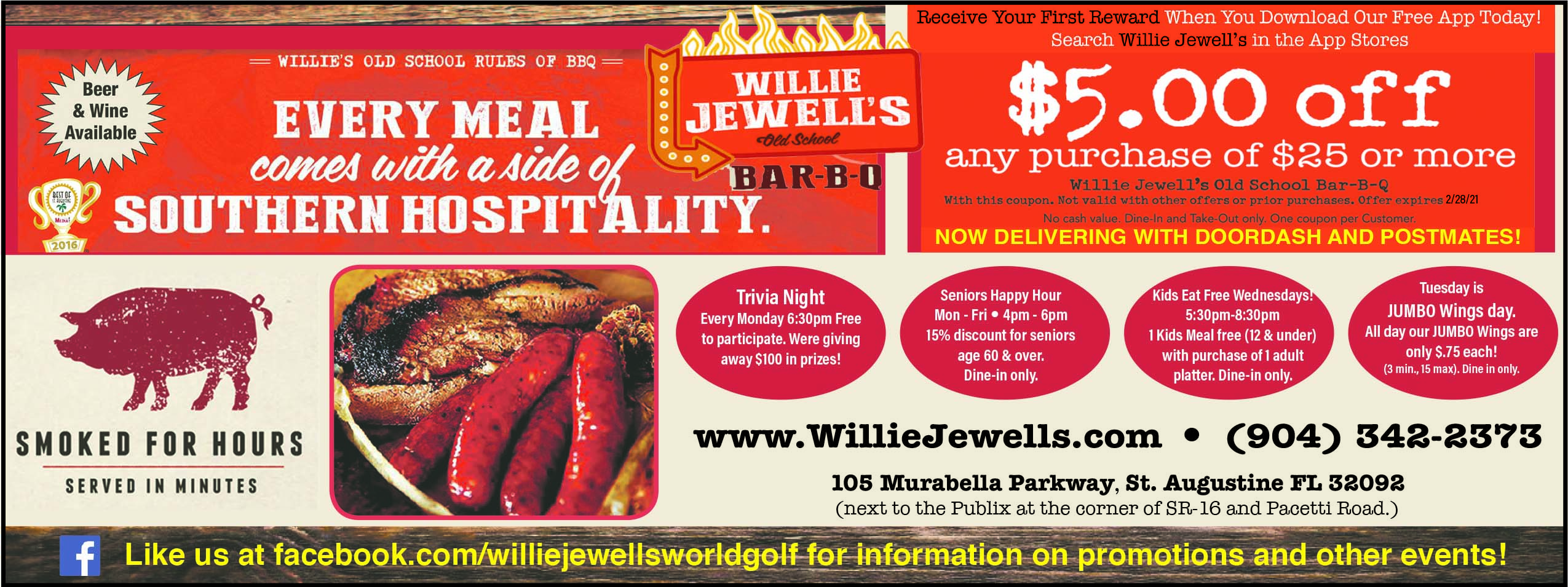 Willie Jewell's BBQ! Every meal comes with a side of southern hospitality