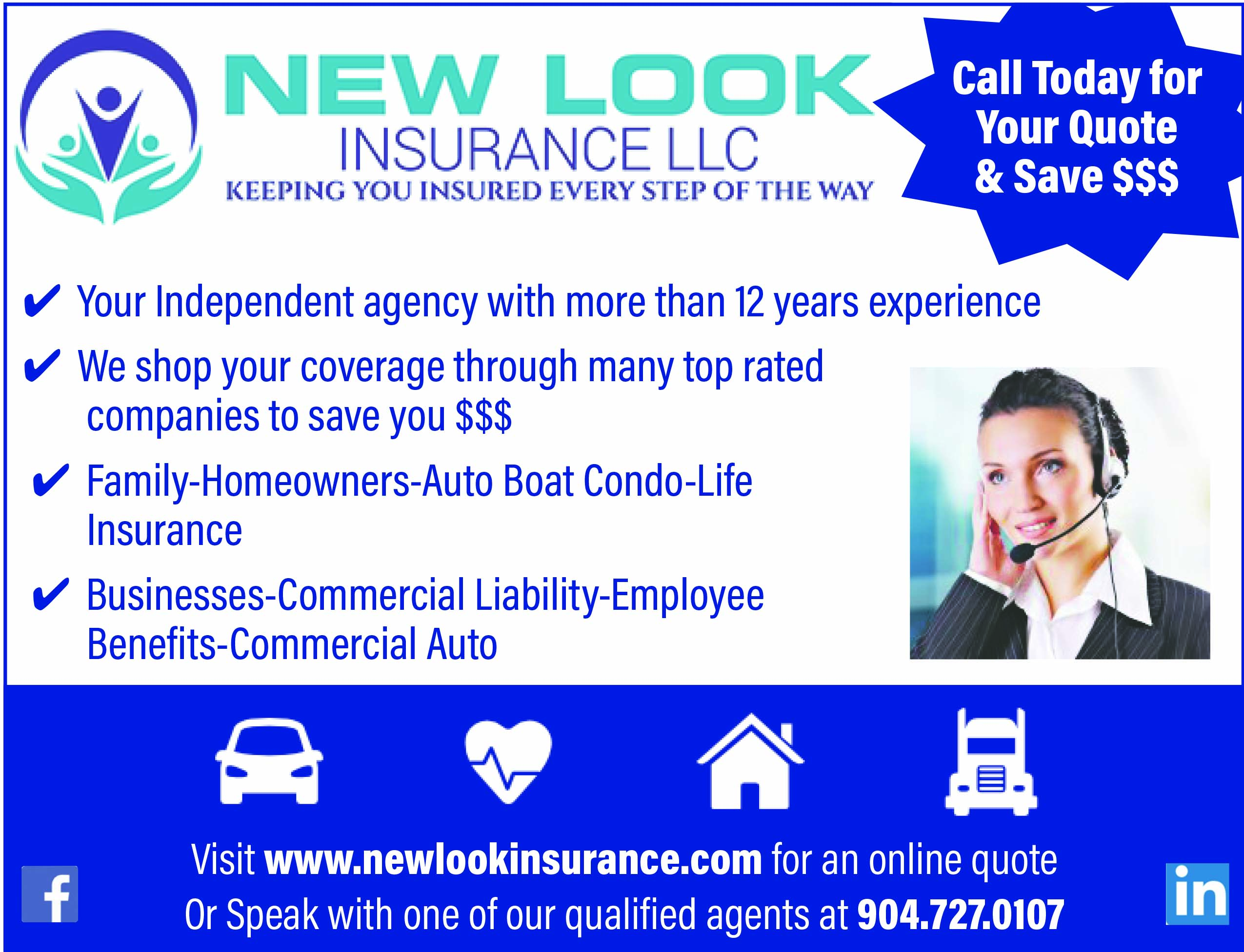 New look insurance LLC Call today for your quote and save $$$