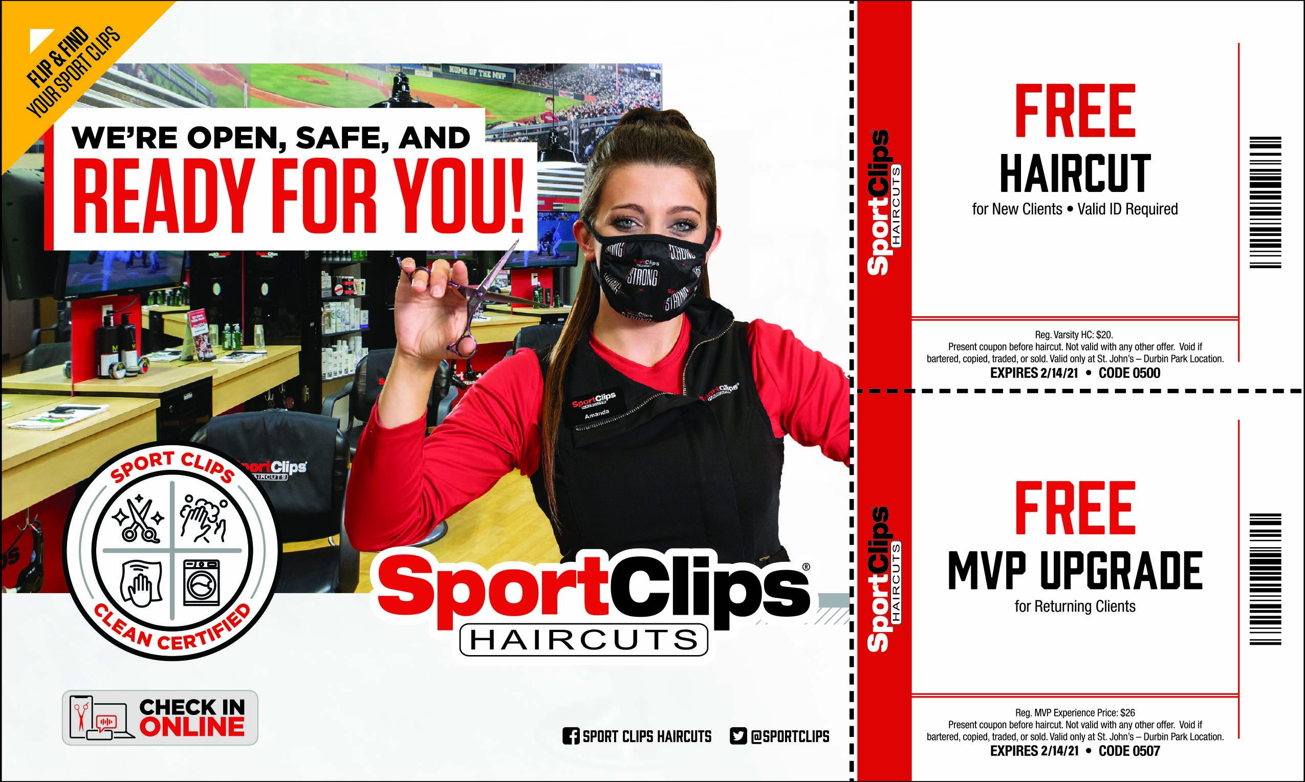 Sportclips! we are open, safe, and ready for you.